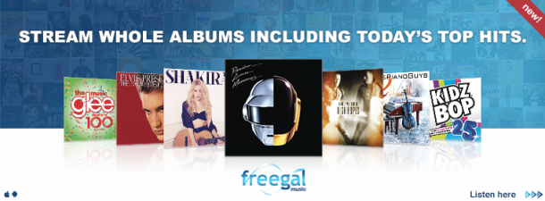 "Web banner for Freegal Music service ""New! Stream whole albums including today's top hits."""