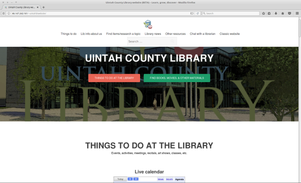 A screenshot of the library's new website.